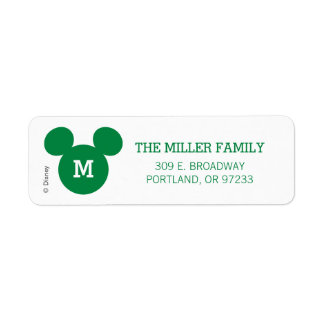 Mickey Mouse Head Silhouette | Green with Monogram Label