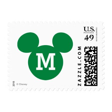 Disney Themed Mickey Mouse Head Silhouette | Green with Monogram Postage