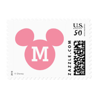 Mickey Mouse Head Silhouette | Pink with Monogram Postage