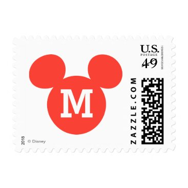 Disney Themed Mickey Mouse Head Silhouette | Red Postage