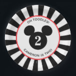 "Mickey Mouse | Icon Black &amp; White Stripe Birthday Paper Plate<br><div class=""desc"">Celebrate your child&#39;s birthday by throwing a Mickey Mouse themed party with these customizable black and white striped paper plates.  Personalize by adding your child&#39;s name and age.</div>"