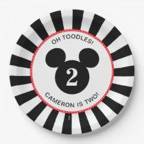 Mickey Mouse | Icon Black & White Stripe Birthday Paper Plate