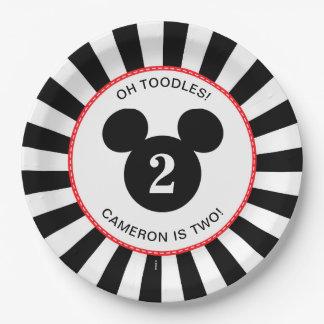Mickey Mouse   Icon Black & White Stripe Birthday Paper Plate