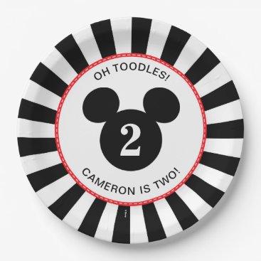 Disney Themed Mickey Mouse | Icon Black & White Stripe Birthday Paper Plate