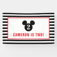 Mickey Mouse | Icon Black & White Striped Birthday Banner