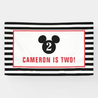 Mickey Mouse | Icon Black & White Striped Birthday Banner