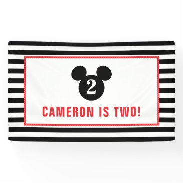 Disney Themed Mickey Mouse | Icon Black & White Striped Birthday Banner