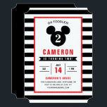 """Mickey Mouse   Icon Black &amp; White Striped Birthday Card<br><div class=""""desc"""">Oh Toodles! Invite all your family and friends to your Mickey Mouse themed Birthday Party with these black and white striped birthday invitations.</div>"""