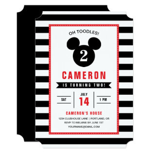 Mickey Mouse | Icon Black & White Striped Birthday Card at Zazzle