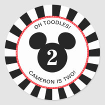 Mickey Mouse   Icon Black & White Striped Birthday Classic Round Sticker