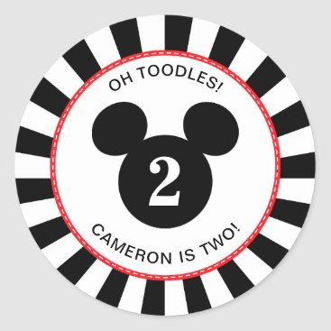 Disney Themed Mickey Mouse | Icon Black & White Striped Birthday Classic Round Sticker