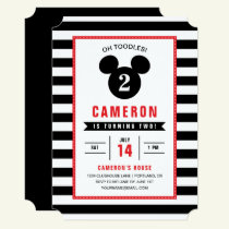 Mickey Mouse | Icon Black & White Striped Birthday Invitation