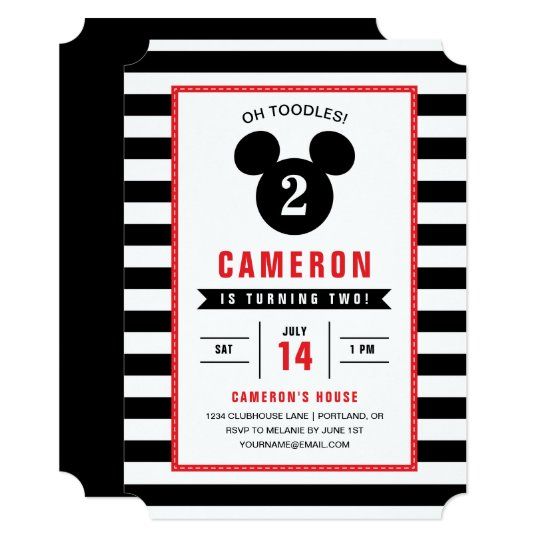 Mickey Mouse Icon Black White Striped Birthday Invitation