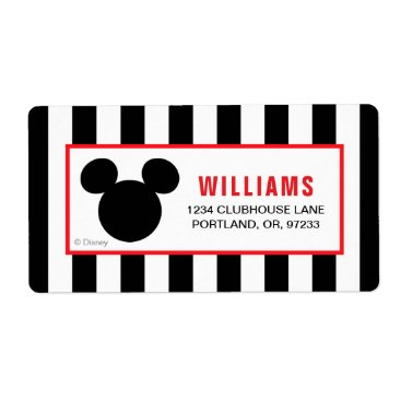 Disney Themed Mickey Mouse | Icon Black & White Striped Birthday Label