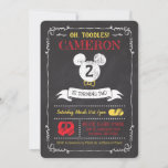 """Mickey Mouse Icon Chalkboard Invitation<br><div class=""""desc"""">Invite all your family and friends to your child's Mickey Mouse themed Birthday Party with these chalkboard birthday invitations. Personalize by adding your party details.</div>"""