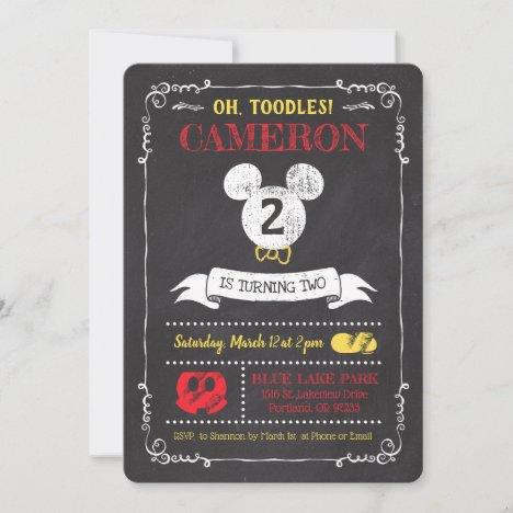Mickey Mouse Icon Chalkboard Invitation