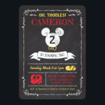 "Mickey Mouse Icon Chalkboard Invitation<br><div class=""desc"">Invite all your family and friends to your child&#39;s Mickey Mouse themed Birthday Party with these chalkboard birthday invitations. Personalize by adding your party details.</div>"
