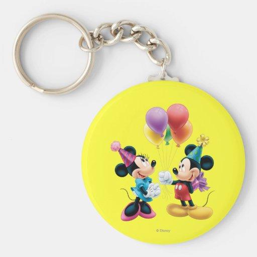 Mickey Mouse & Minnie Birthday Key Chains