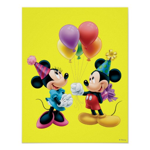 Mickey Mouse & Minnie Birthday Posters