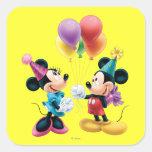 Mickey Mouse & Minnie Birthday Square Sticker