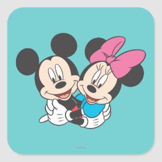 Mickey Mouse & Minnie  Hugging Square Sticker