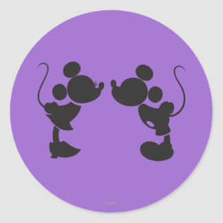 Mickey Mouse & Minnie  Silhouette Classic Round Sticker