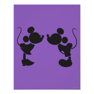 Mickey Mouse & Minnie  Silhouette Poster