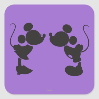Mickey Mouse & Minnie  Silhouette Square Sticker