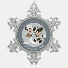 Mickey Mouse & Minnie Wedding Snowflake Pewter Christmas Ornament at Zazzle
