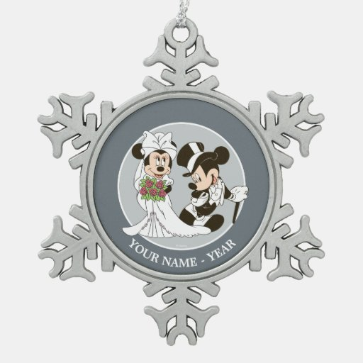 Mickey Mouse & Minnie Wedding Snowflake Pewter Christmas Ornament