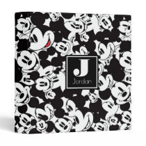 Mickey Mouse | Monogram Crowd Pattern 3 Ring Binder