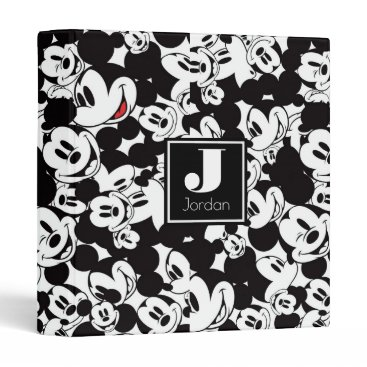 Disney Themed Mickey Mouse | Monogram Crowd Pattern 3 Ring Binder