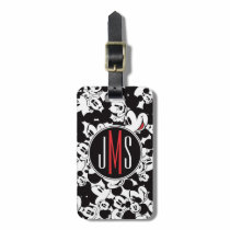 Mickey Mouse   Monogram Crowd Pattern Bag Tag