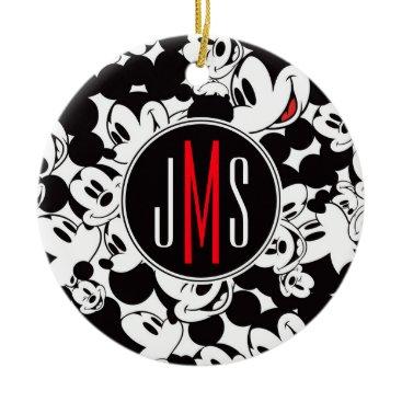 Disney Themed Mickey Mouse | Monogram Crowd Pattern Ceramic Ornament