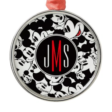 Disney Themed Mickey Mouse | Monogram Crowd Pattern Metal Ornament