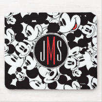 Mickey Mouse | Monogram Crowd Pattern Mouse Pad