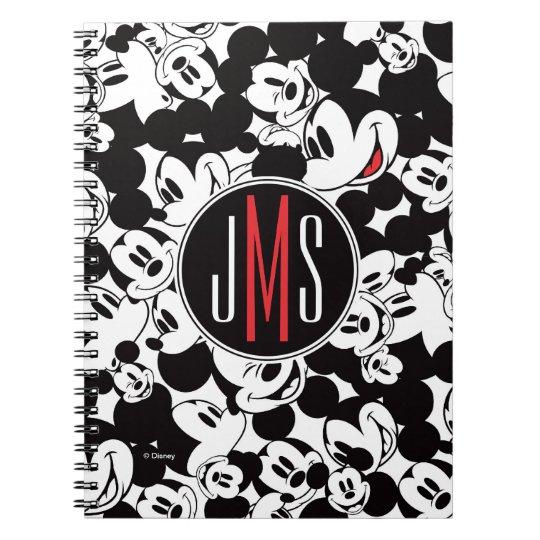 Mickey Mouse Monogram Crowd Pattern Notebook Zazzle Inspiration Mickey Mouse Pattern