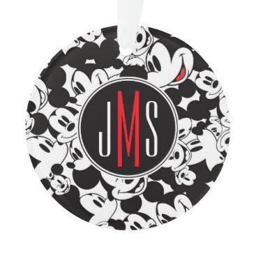 Disney Themed Mickey Mouse | Monogram Crowd Pattern Ornament
