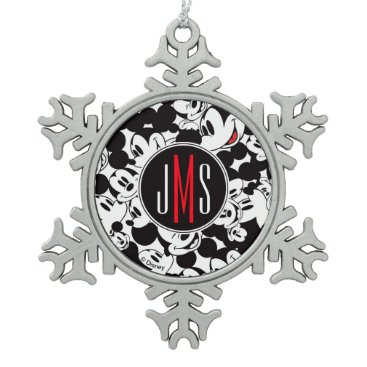 Disney Themed Mickey Mouse | Monogram Crowd Pattern Snowflake Pewter Christmas Ornament