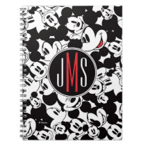 Mickey Mouse | Monogram Crowd Pattern Spiral Notebook
