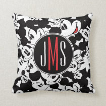 Mickey Mouse | Monogram Crowd Pattern Throw Pillow