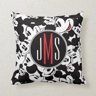 Mickey Mouse | Monogram Crowd Pattern Throw Pillow