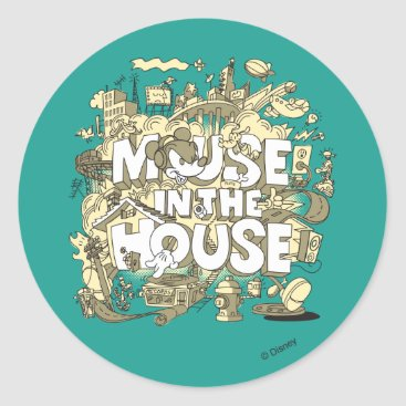 Disney Themed Mickey Mouse | Mouse In The House Classic Round Sticker