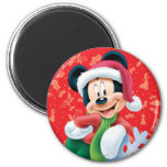 Mickey Mouse on Snowflake 2 Inch Round Magnet