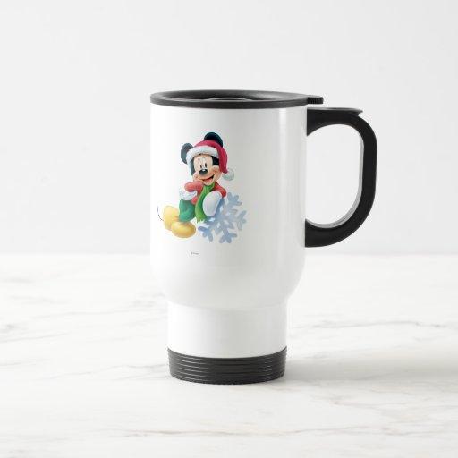 Mickey Mouse on Snowflake 15 Oz Stainless Steel Travel Mug