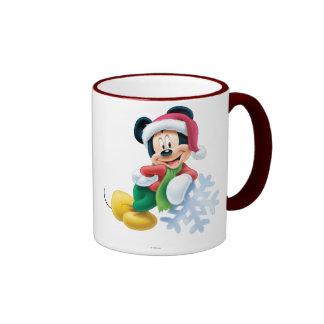 Mickey Mouse on Snowflake Ringer Mug