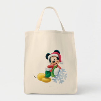 Mickey Mouse on Snowflake Tote Bag