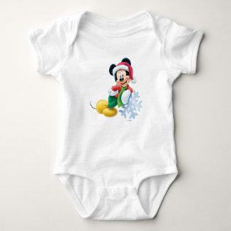 Mickey Mouse on Snowflake Tee Shirt