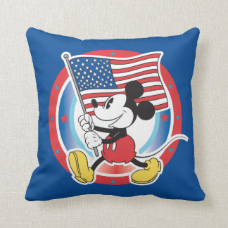 Mickey Mouse Parade With US Flag Pillow