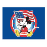 Mickey Mouse Parade With US Flag Postcard